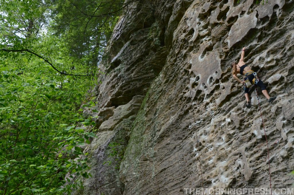 Climbing one of my favorite routes at Red River Gorge, Plate Tectonics (5.10a).