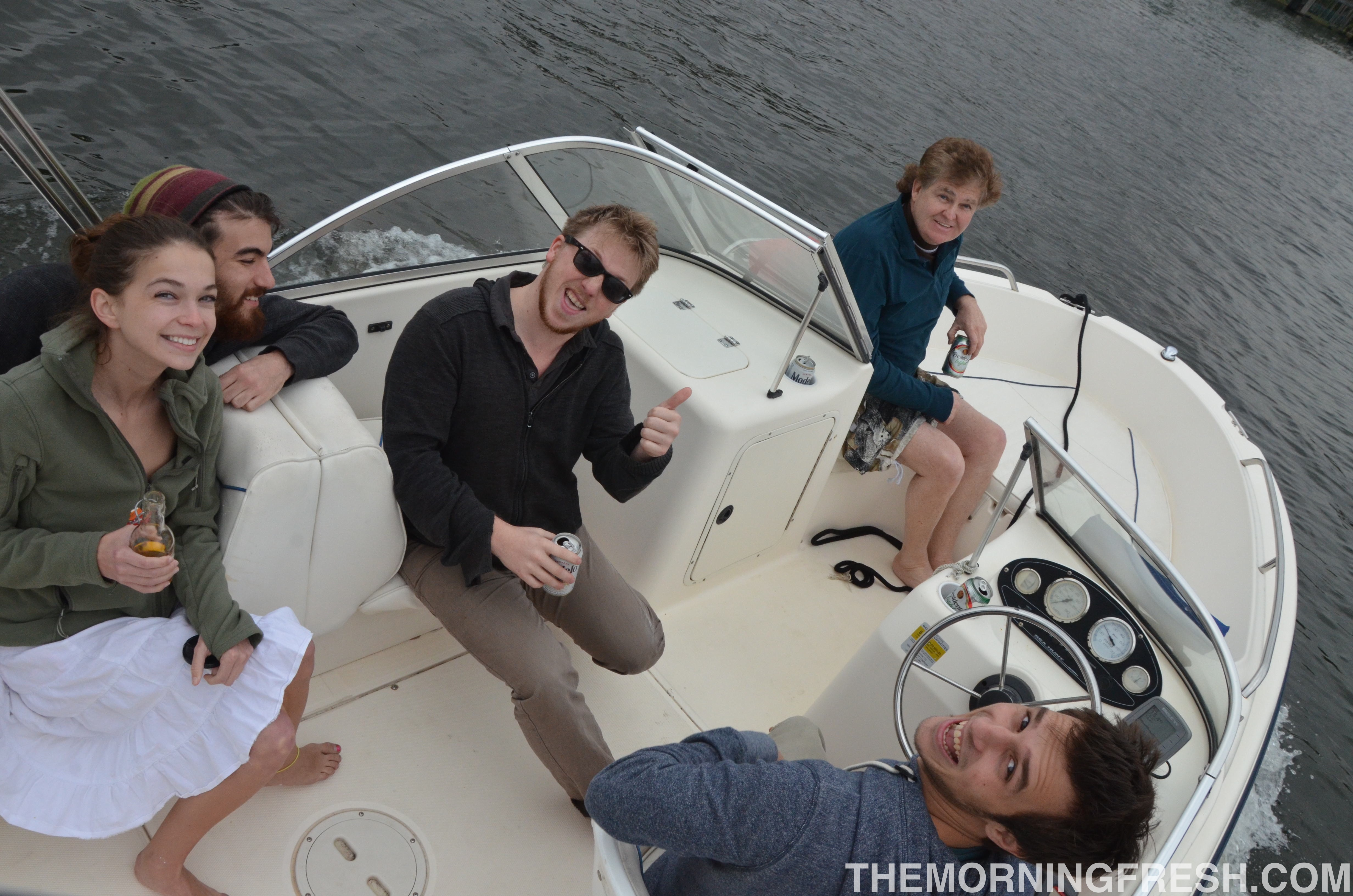 The crew sailing along the Miami River during my farewell visit to my hometown.