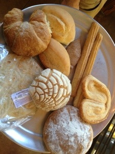 My tray of goodies from El Bolillo Bakery in Houston, Texas.