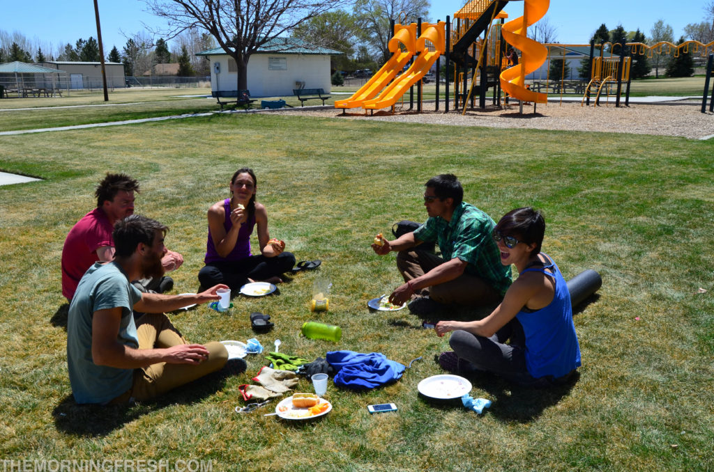 The crew feasts on local treats after the clean-up.
