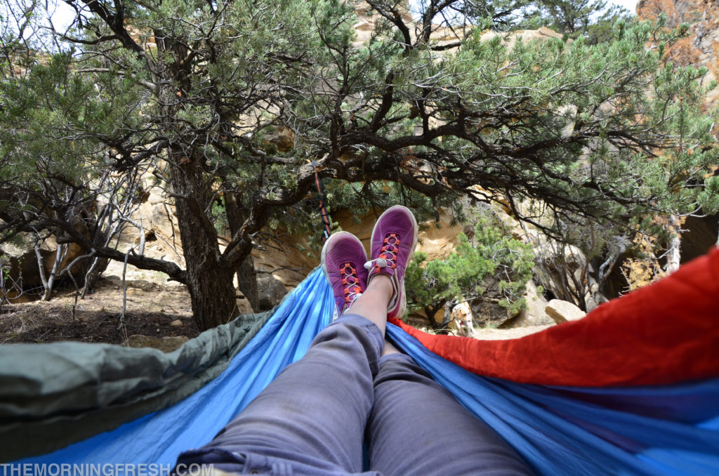 Lounging in my ENO hammock at Joe's Valley.