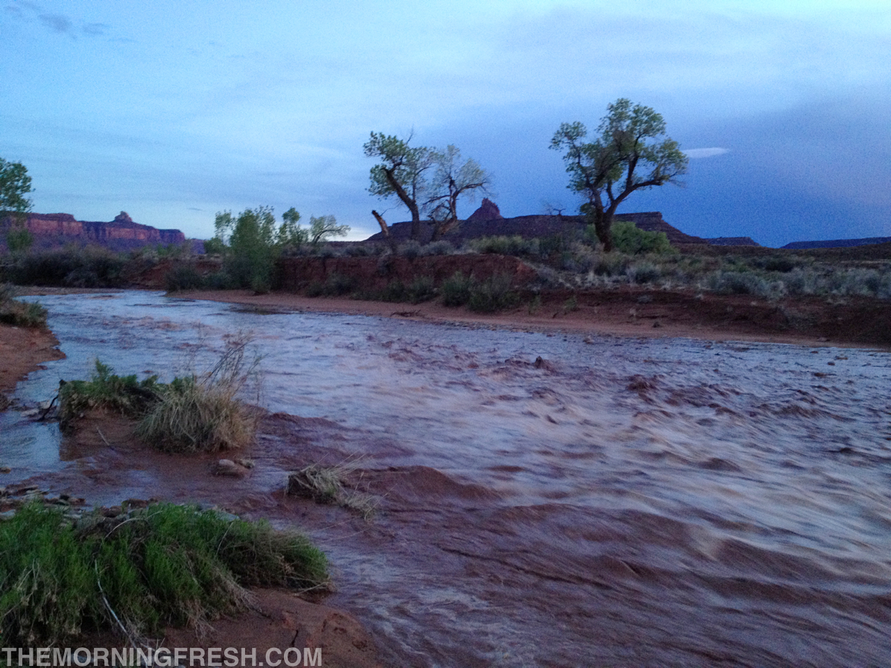 The flash flood that swept through the wash just below our campsite at Indian Creek.