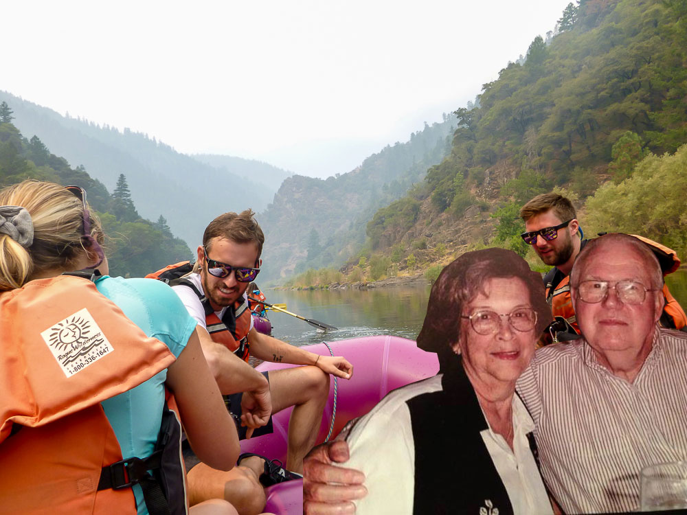 Flat Dig and Mary rafting on the Rogue River.