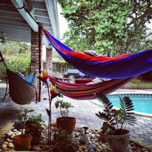 Our little hammock camp at my house in Miami.