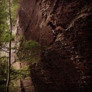 Niko crushing Scar Tissue (5.12a) at The Zoo in Red River Gorge, Kentucky.