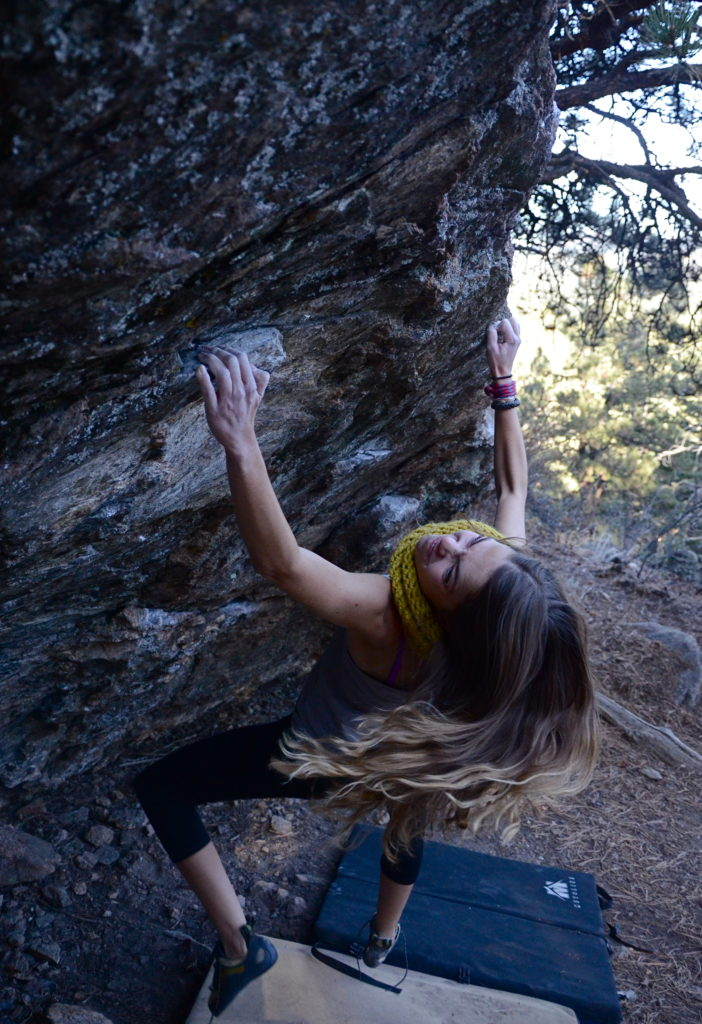 Bouldering at Three Sisters Park in Colorado - with my favorite fall scarf!