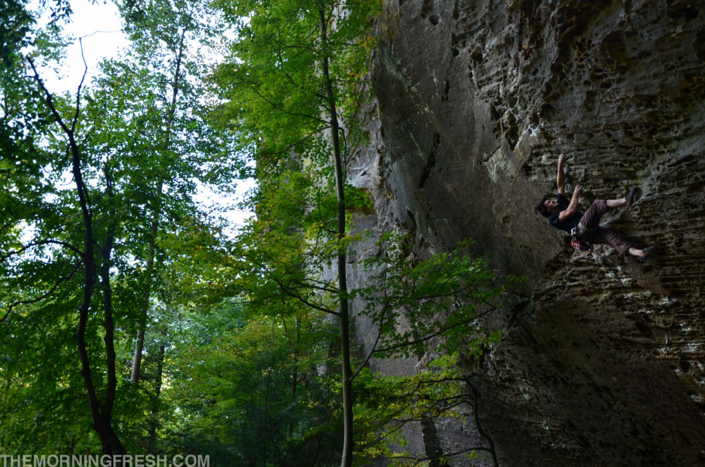 Steven Jeffery on Scar Tissue (5.12a) at The Zoo in Red River Gorge.