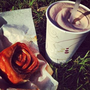 Cinnamon roll and a chocolate milkshake from Knaus Berry Farm.