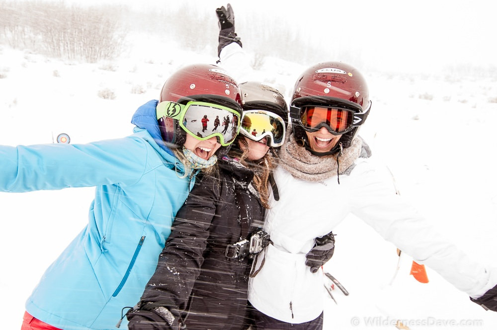 Three of the Omniten ladies goofing off in the snow at Garff Ranch during the Omnigames.  (Photo: David Creech)