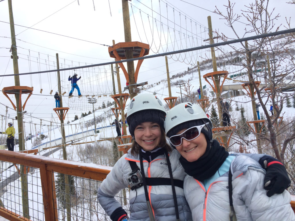 Heidi and I on the ropes course at Utah Olympic Park during the Omnigames.