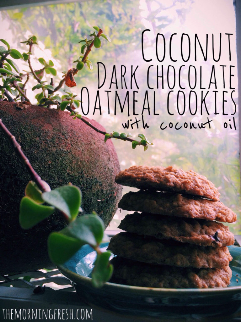 Coconut Dark Chocolate Oatmeal Cookies (with coconut oil!)
