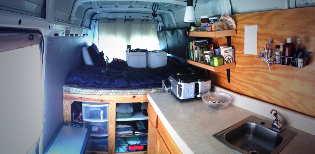The interior of my 2005 Dodge Sprinter adventure van.