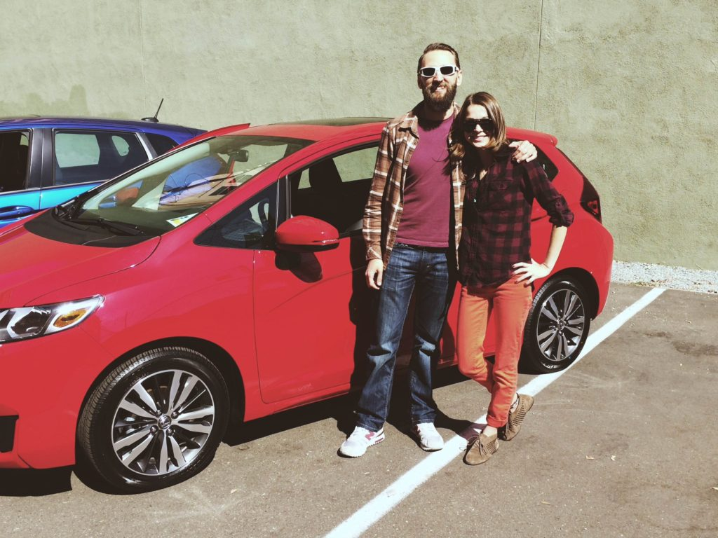 Casey (from ModernHiker.com) and I getting ready to test drive the 2015 Honda Fit in San Diego.