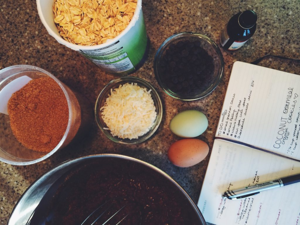 The ingredients laid out for my homemade oatmeal coconut dark chocolate chip cookies recipe.