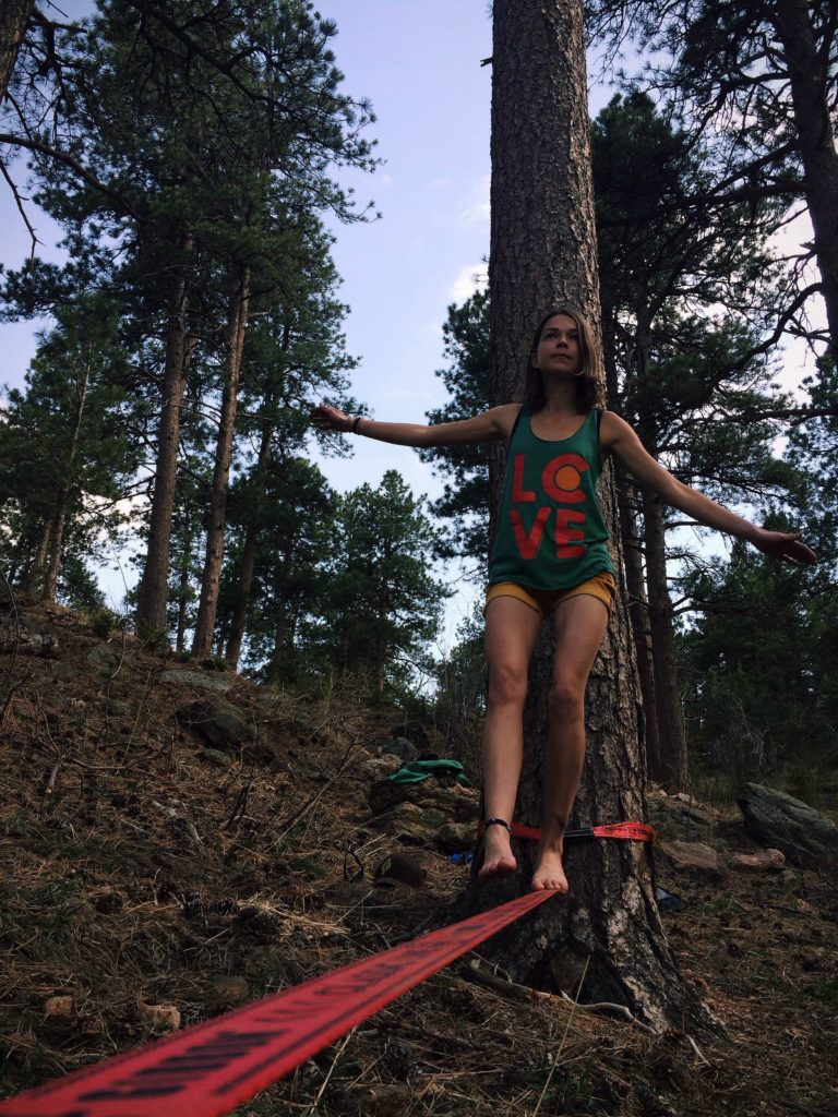 Jason Gebauer's quick shot of me slack-lining while rockin' Mile High Clothing.