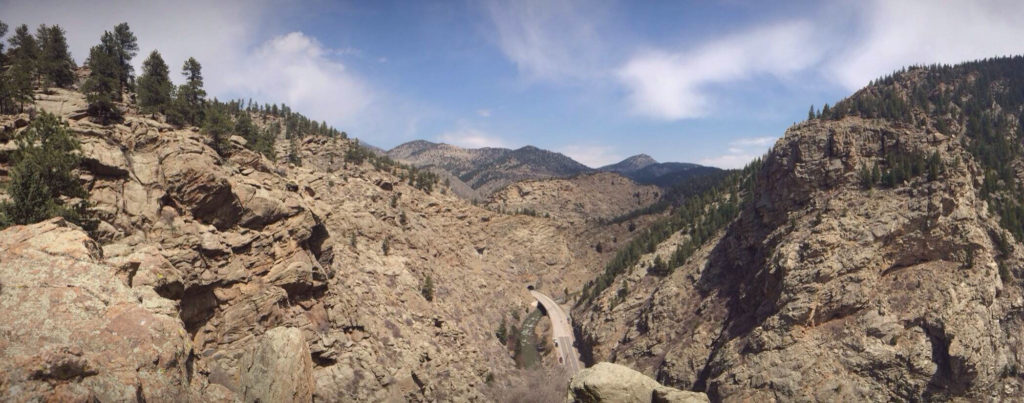 The view from the top of Playing Hooky in Clear Creek Canyon.