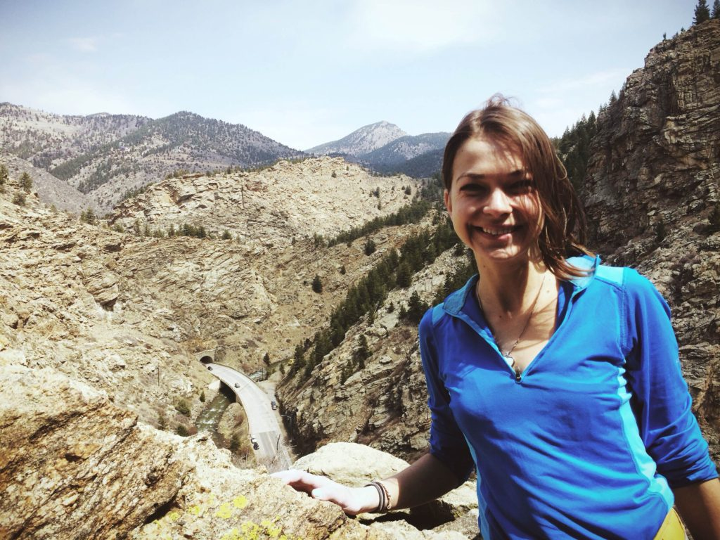 Katie Boué at the top of Playing Hooky in Clear Creek Canyon.