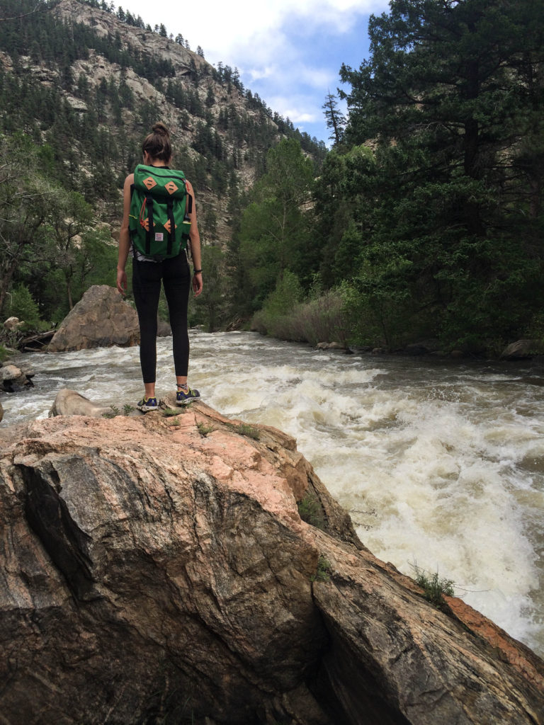 Hiking along the South Platte River with my Topo Designs pack.