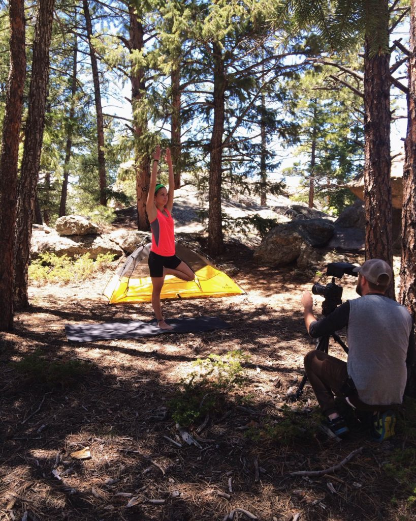 Filming with Backpackers Pantry in Evergreen at Three Sisters Park.