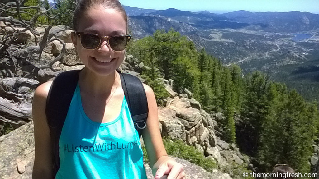 Wearing SportRx sunglasses at the top of Deer Mountain in Rocky Mountain National Park.