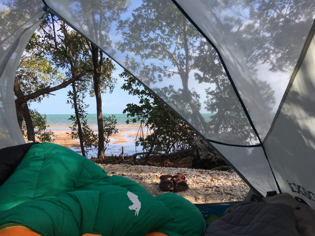 Camping at Bahia Honda State Park in Florida.